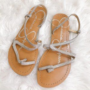 Jessica Simpson Silver Strappy Thong Sandals 7
